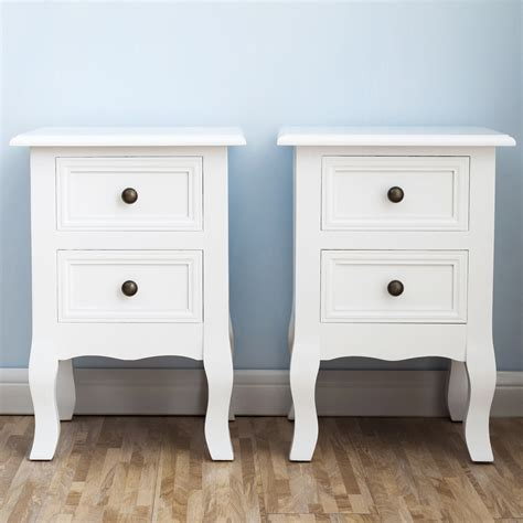 white nightstand set  bedside  table pair shabby chick