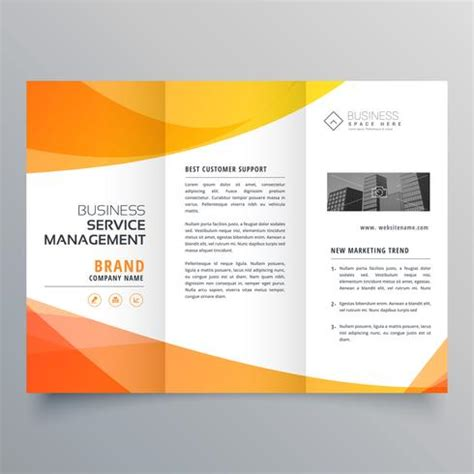 Brochure Free Vector 2 389 Free Vector For Modern Orange Trifold Brochure Template In Wave Style