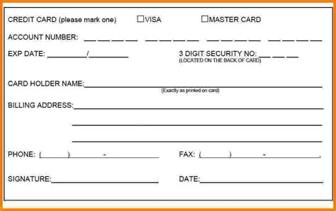 8 credit card authorization form card authorization 2017