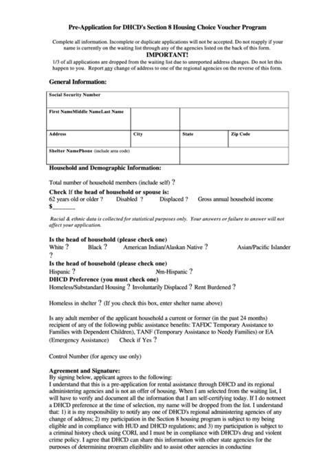 section 8 application form pre application for dhcd s section 8 housing choice