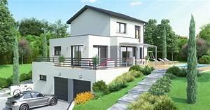 maison contemporaine sur mesure terrain tres pentu With maison sur terrain rectangulaire