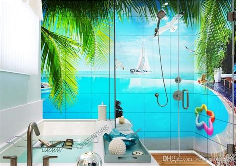 custom wallpaper  seaview pool  bathroom wall