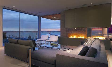living room   view   ocean    fire