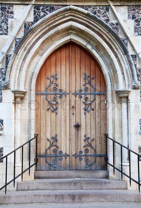the door church church door of the catholic church stock