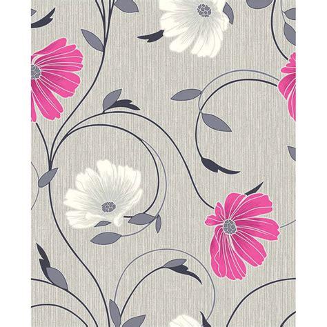 bm crown sheena grey pink motif wallpaper
