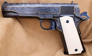 Engraved Colt Model 1911 45 Auto  Blued Finish  By Les Schowe