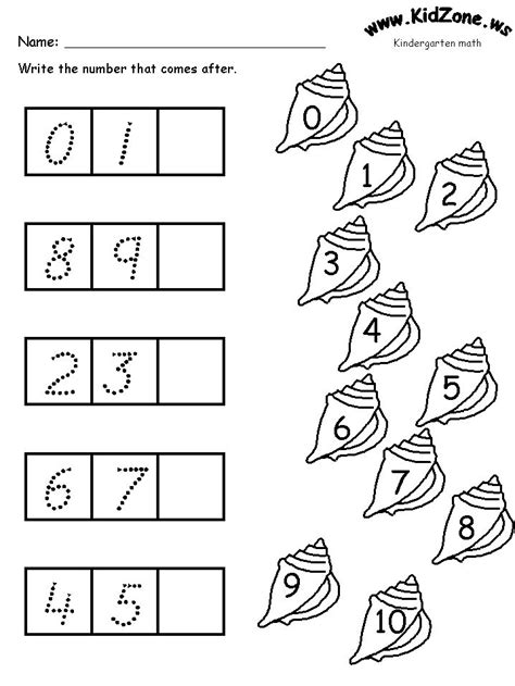 Math Activity Pages  What Comes Next? Number Sequencing Ocean Theme For Kindergarten Ocean