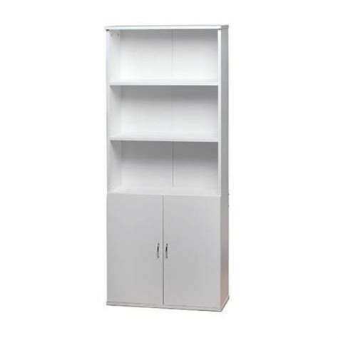 White Bookcase Cabinet by White Wooden Bookcase Shelves 2 Doors Cupboard Cabinet
