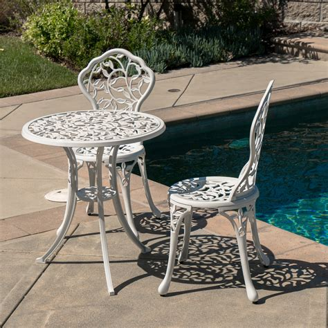 Outdoor Balcony Chairs by 3pc Bistro Set Patio Table Chairs Ivory Furniture Balcony