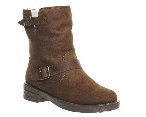 womens brown biker boots womens office igloo buckle biker boots brown suede boots