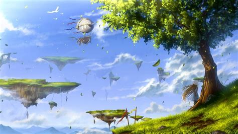 Tree Anime Wallpaper - anime birds leaves trees floating island wallpapers hd