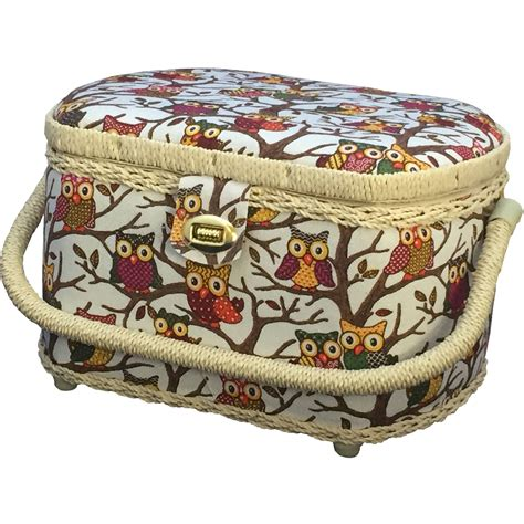 michley owl patterned sewing basket   piece sewing