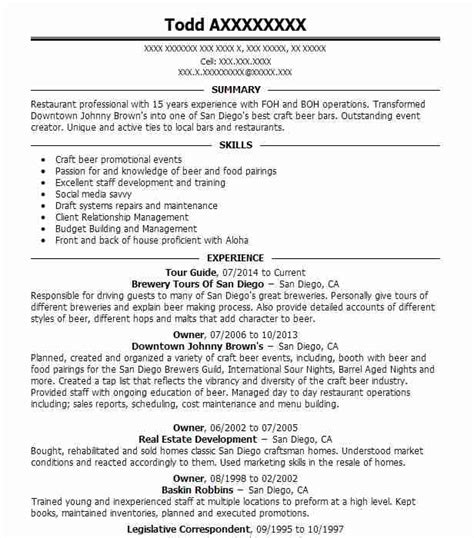 Resume Guide by Tour Guide Resume Sle Travel And Tourism Resumes