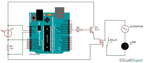 Arduino Light Sensor Circuit Diagram Using Ldr Relay