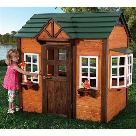 Backyard Play House by Outdoor Playhouse Wood Children Cottage Cedar Boys