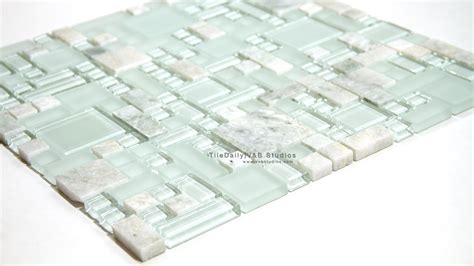 Ming Green Random Glass And Marble Mosaic tiledaily