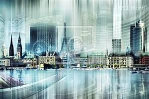 Leinwand Köln Skyline : hamburg skyline abstrakte collage als leinwand von n ~ Sanjose-hotels-ca.com Haus und Dekorationen