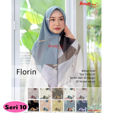 Jual Florin jilbab segiempat florin seri 10 by azzura scarf grosir