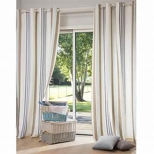 Rideau A Oeillet : rideau illets rayures en coton 140 x 250 cm cap ~ Dallasstarsshop.com Idées de Décoration