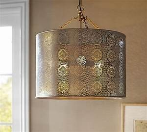Taza brass punched drum pendant pottery barn