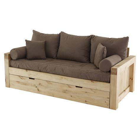 canapé en bois massif canapé convertible en microfibre et structure en