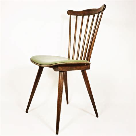 Chaise Vintage En Bois Et Simili Cuir Vert  1960 Design