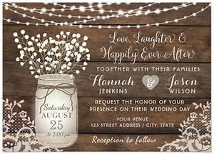 rustic wood lace wedding invitation mason jar card With rustic mason jar wedding invitations with lights