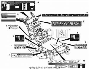 Gravely 988106  000101 - 001999  Recoil  48 U0026quot  Fixed Mower Deck Parts Diagram For Decals