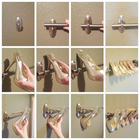 shoes rack  organize  high heels   curtain rod