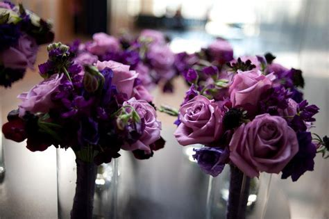 gorgeous november wedding  deep purple bouquets