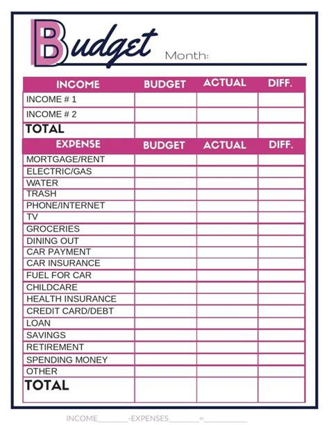 free budget worksheets single income