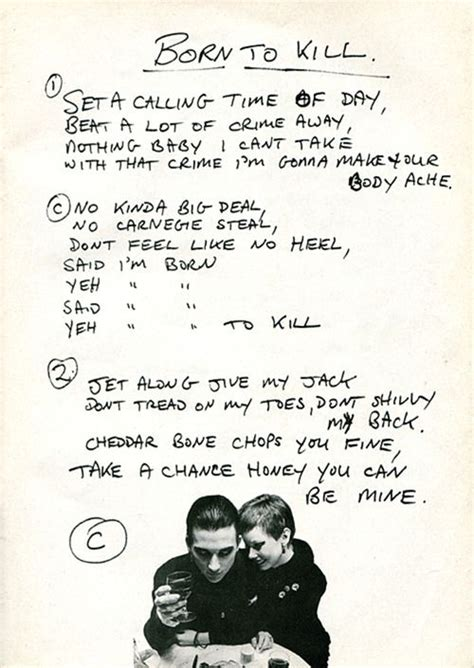handwritten lyrics  brian james   damneds born