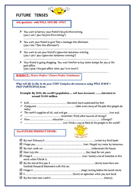 30 free future worksheets