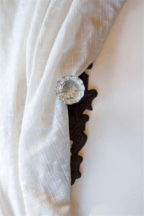 set of four vintage door knob curtain tie back