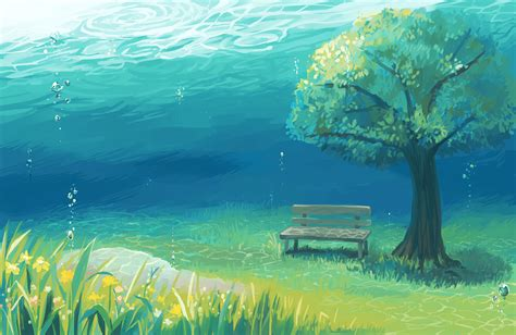Anime Tree Wallpaper - 2000x1300 anime landscape underwater tree