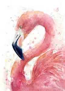 pink flamingo watercolor painting art print giclee bird animal