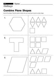 combine plane shapes worksheet for 1st 2nd grade