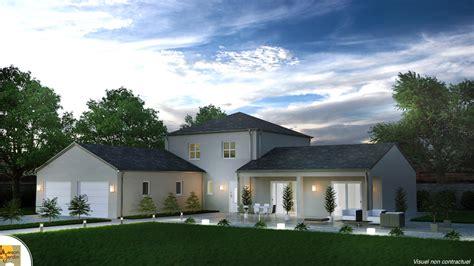 maison familiale avec tour centrale et plan en l