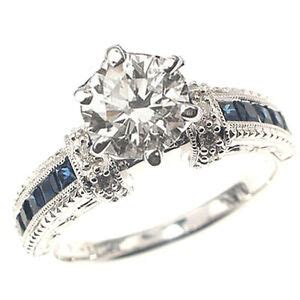 Blue Sapphire 1 44ct 1 44ct f vs blue sapphire engagement ring