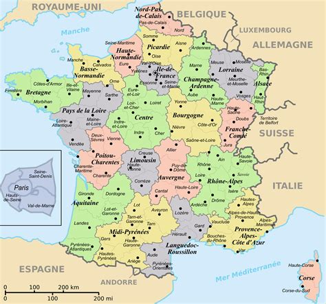 regions  departements map  france