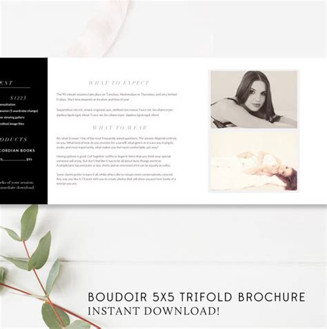 Trifold Brochure Accordion Mini Template Trifold Template Boudoir Pricing Template 5x5 Accordion Trifold By