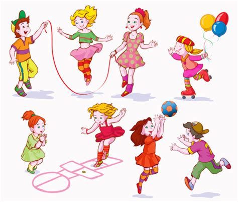 playing cartoon playing children cartoon vector set 03 vector cartoon