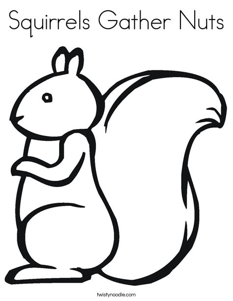 Herfstvruchten Kleurplaat by Squirrels Gather Nuts Coloring Page Twisty Noodle
