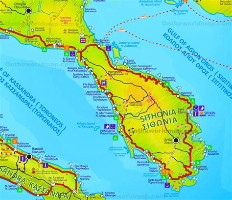 sithonia tourist map