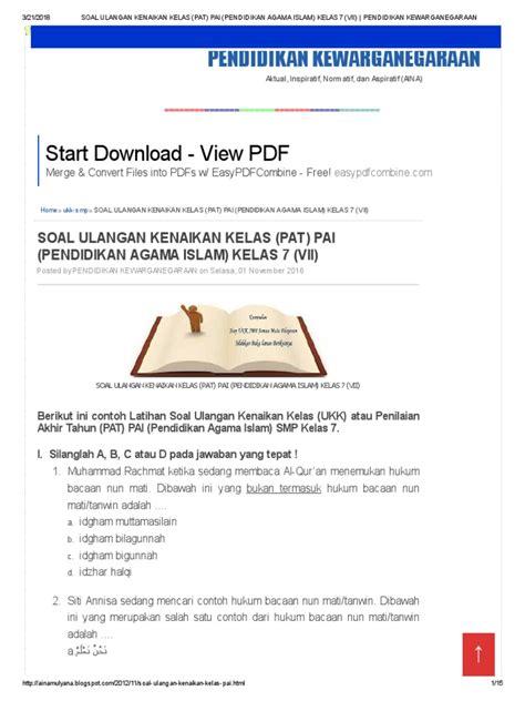 Soal pas agama islam kelas 7. Soal Ulangan Kenaikan Kelas (Pat) Pai (Pendidikan Agama ...