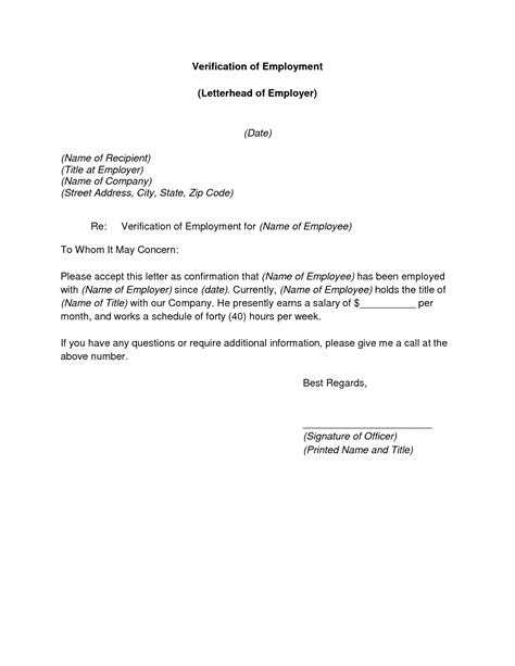 employee verification letter letter confirming employment free chlain