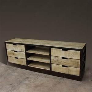Meuble Tv Fer : meuble tv bois et fer maison design ~ Teatrodelosmanantiales.com Idées de Décoration