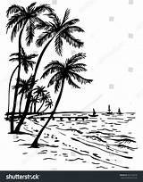 Palm Sunset Beach Trees Summer Tree Drawing Drawn Sketch Sea Hand Easy Getdrawings Illustration Shutterstock Vector sketch template