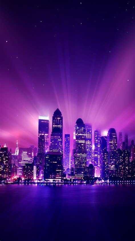 shine purple city night iphone  wallpaper city