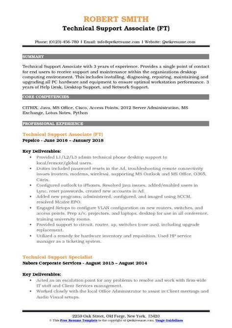 Technical Support Representative Resume by Technical Support Associate Resume Sles Qwikresume